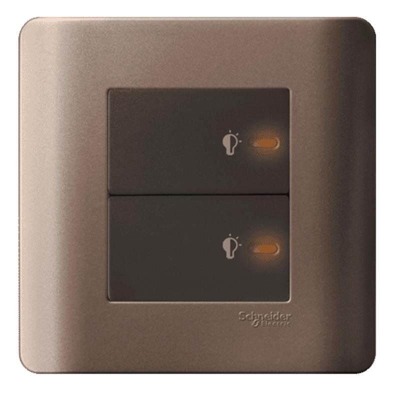 Schneider Zencelo 2 Gang 300VA, 50Hz Full-Flat Universal Dimmer with LED, Silver Bronze
