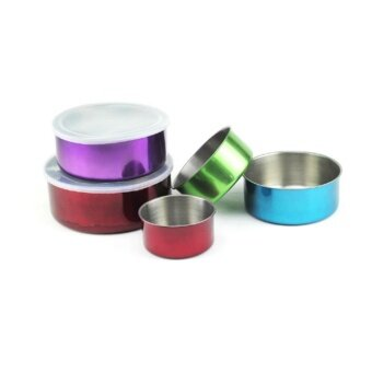Set of 5 Stainless Steel Food Container Food Storage Multi-size (Colourful)