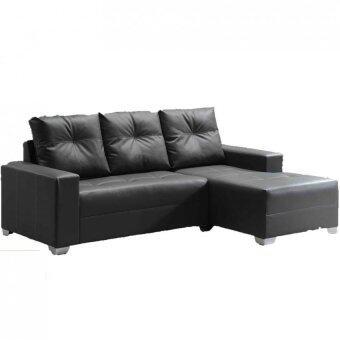 SG TAN L Shaped Sofa Set   Black Color