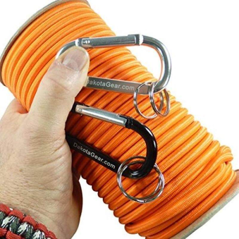 """Buy Shock Cord - ORANGE 3/16"""" x 25 ftpoolarine Grade, with 2 Carabiners & Knot Tying eBook. Also called Bungee Cord, Stretch Cord & Elastic Cord. Malaysia"""