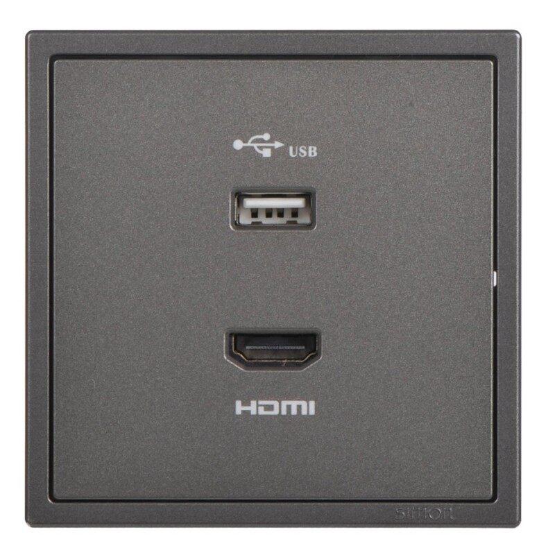 SIMON USB + HDMI Outlet - Matt White / Golden Champagne / Graphite Black