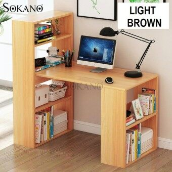 SOKANO B2132 Premium Classic Writing Table and Dekstop Wooden Desk With Attached Shelf - Light Brown (216980)
