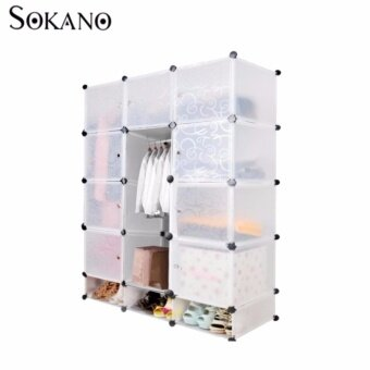SOKANO DIY Magic 15 Cube Large Capacity Wardronbe With Shoe Cabinet- Transparent