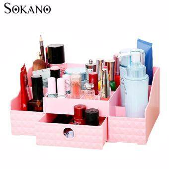 Harga SOKANO FS002 Korean Style Cosmetic and Table Top Organizer WithDrawer- Pink