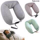SOKANO MUJI Inspired Well fitted Microbeads U Shape Ergonomic Neck Pillow - Grey Strip