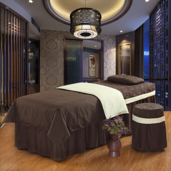 Solid color beauty bedspread four piece cotton body massage bedspread spa bed sets can be customized universal special