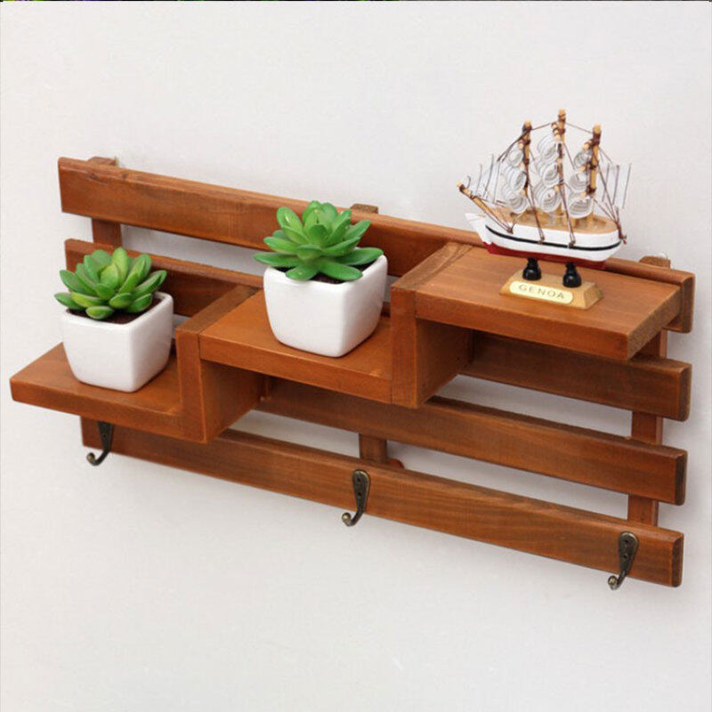 Buy Stairs station ladder wooden glove rack storage rack flower shelf wall pendant decorative products hook clapboard creative Malaysia