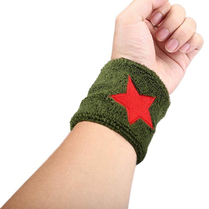 Buy Star Pattern Elastic Breathable Absorbent Fabric Sports Protector Wrist Band(Green) Malaysia