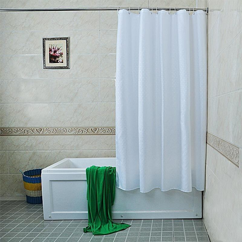 Than Pure White Floral Polyester Cloth Shower Curtain Mold Waterproof Bathroom Shower Curtain Cloth Bag Tied To Send,180 W *200 H