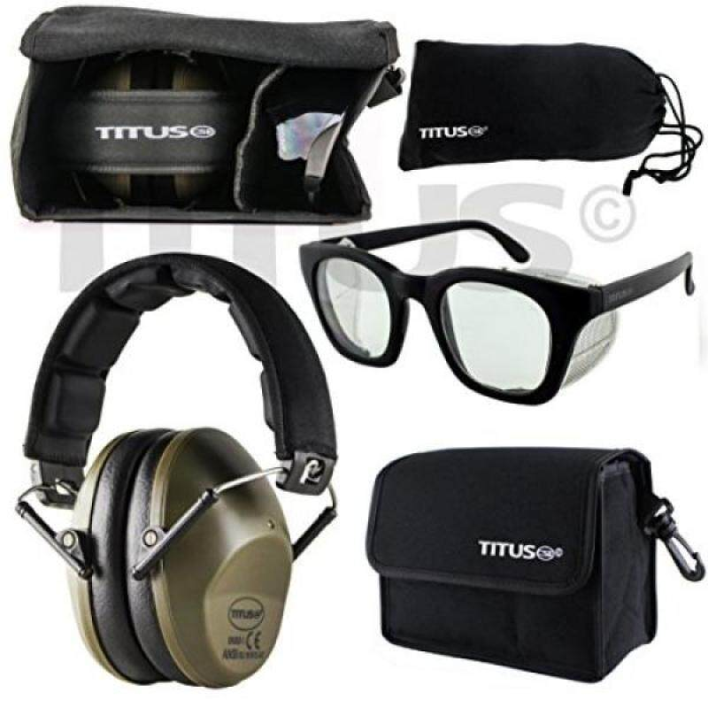 Buy TITUS 34dB Safety Earmuff & Glasses Combo (Olive, G12 Clear Retro with Folding Side Shield) Malaysia
