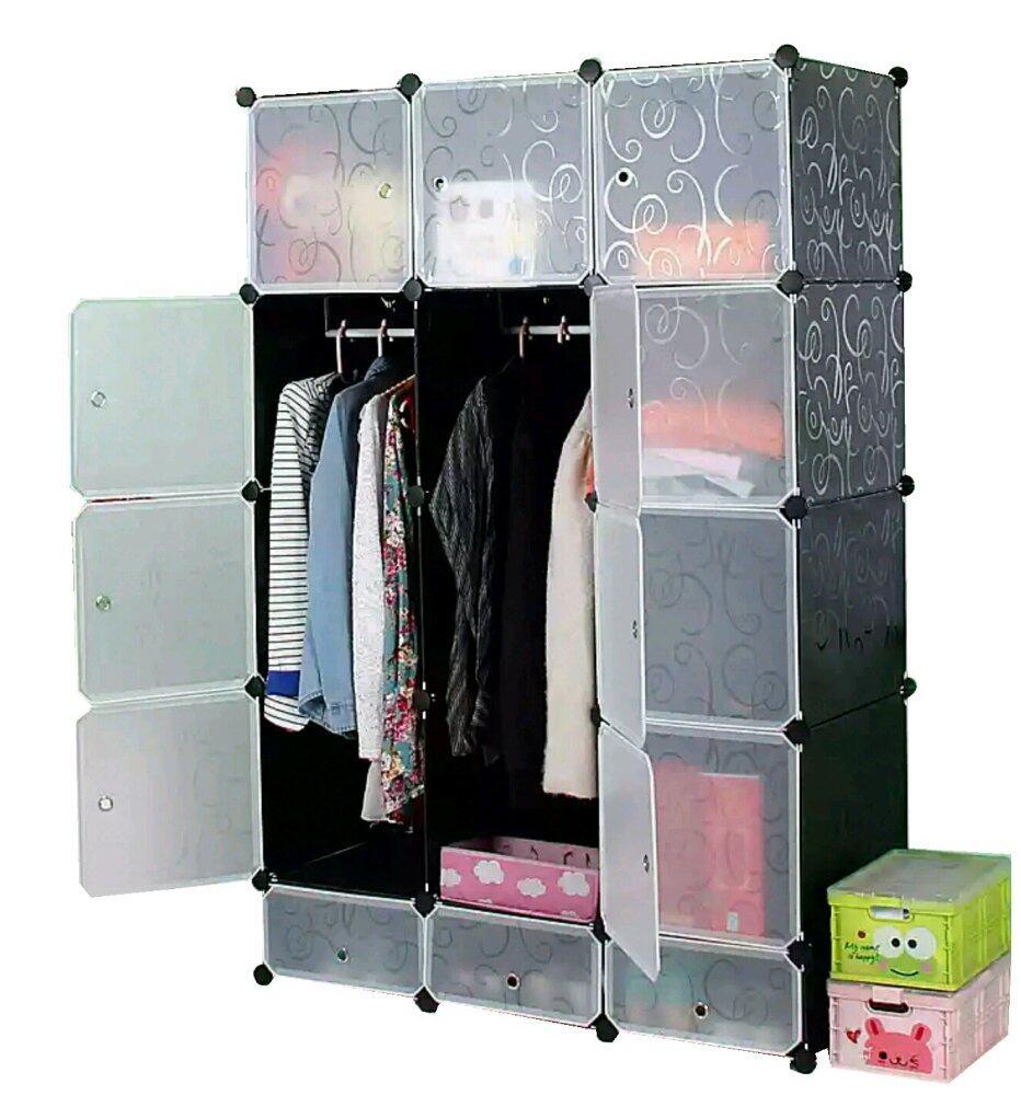 Tupper Cabinet 15 Cubes Black Stripes DIY Wardrobe With Shoe Rack ...