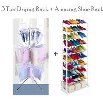 VALUE SET: 3 Tier Clothes Hanging & Drying Rack + Colossal 10 -Layered Amazing White Shoe Rack