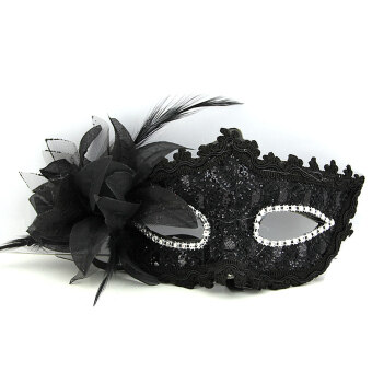 Harga Venetian Feather Lace Sexy Ball Masquerade Mask Paillette FlowerParty Eye Masks (Black)