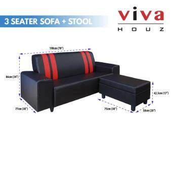 Viva Houz Ancora Sofa, 3 Seater With Stool, L Shape Sofa, LivingRoom Sofa, Made In Malaysia - 2