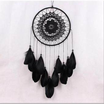 Wall Hanging Car Hanging Decor Gifts Dream Catcher Circle Net WithFeathers Black