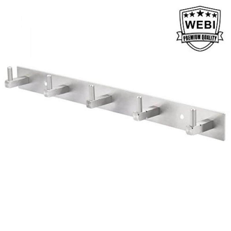 WEBI Solid SUS 304 Coat Towel Holder, 5 Hooks, Brushed Finish, for Bathroom, Bedroom, Kitchen, Utility Room, Laundry Room, Home Office Storage & Organization, L-CF05