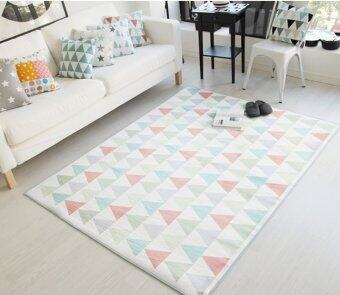 White Triangle Carpet Fiber Living Room Decor Rug50X80CM