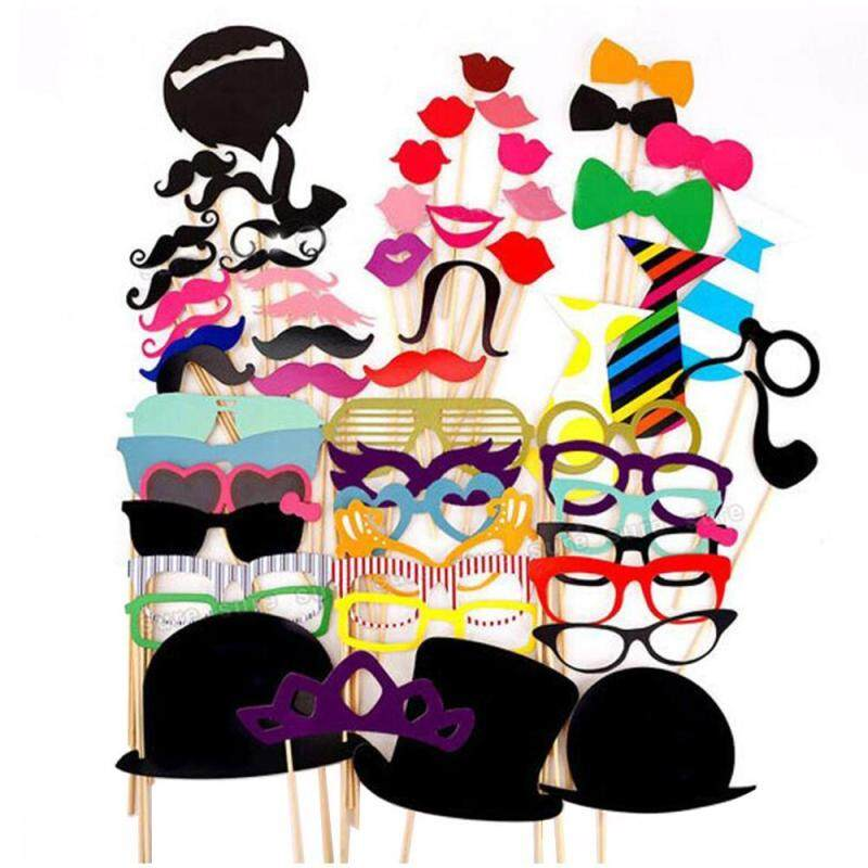 Womdee Creative Photobooth Dress-up Accessories Party Favors Funny 58 Pieces Photo Booth Props DIY Kit for Wedding Party Reunions Birthdays Costume Accessories with Mustache, Hats, Glasses, Lips, Bowties