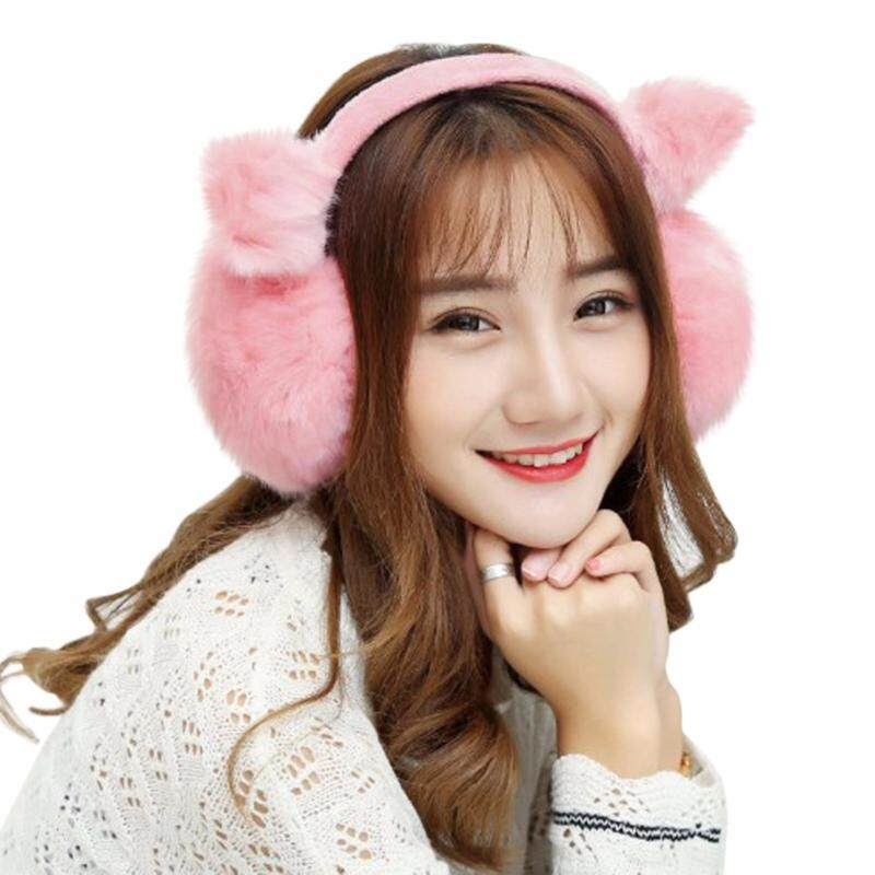 Buy Women's Faux Fur Winter EarMuffs Cute Cartoon Ear Warmers Warm Outdoor Ear Muffs Malaysia
