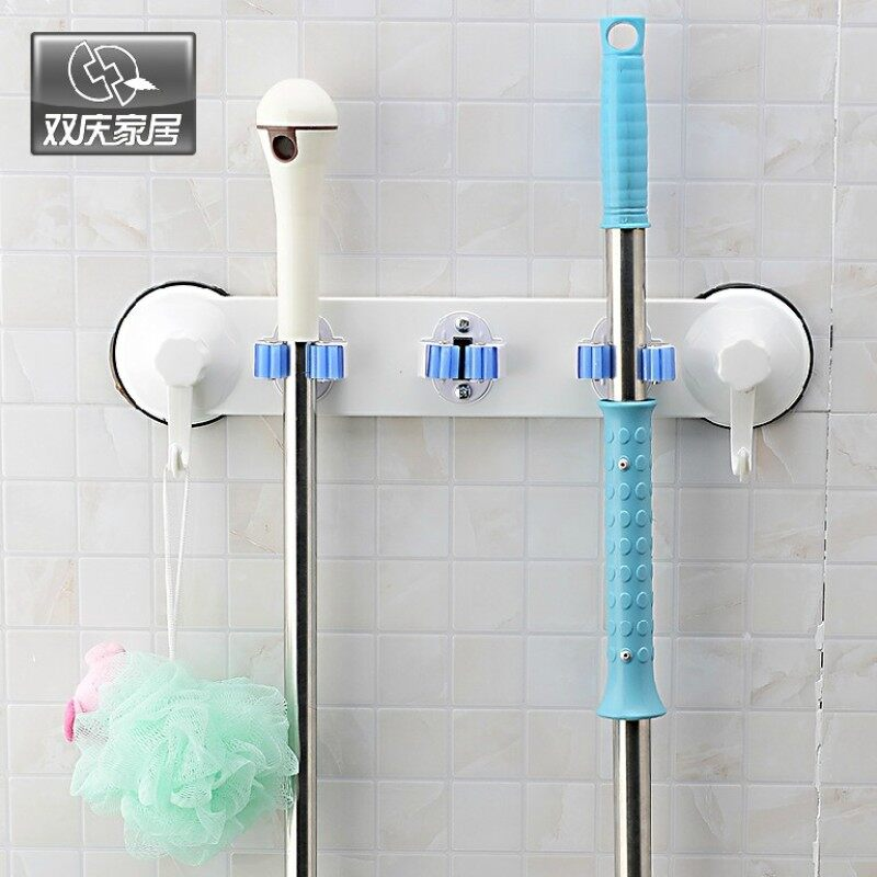 Buy Wu Lala double celebration sucker mop rack seamless broom rack broom clip holder mop hook wall mop rack Malaysia