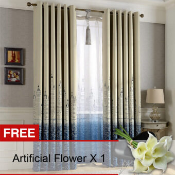 Yika 1Pcs 100*250cm Sun Insulation Blackout Castle Pattern Curtain (Blue) [Buy 1 Get Freebie]