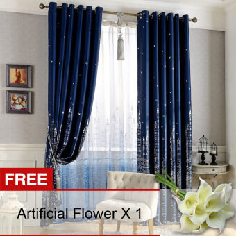 Yika 1Pcs 100*250cm Sun Insulation Blackout Castle Pattern Curtain (Navy Blue) [Buy 1 Get Freebie]