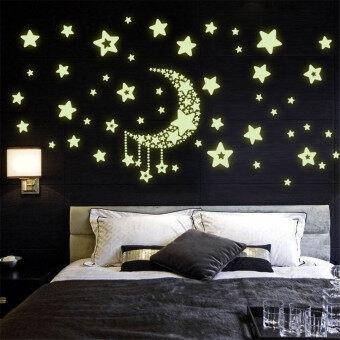 Yika Glow In The Dark Luminescent Moon Stars Wall Stickers (Green)