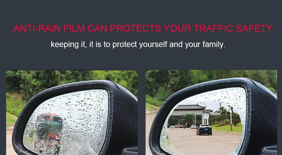 2Pcs Car Blind Spot Mirror Blue Protective Waterproof Membrane for Window and Anti Fog SUV Trailer Bus Caravan Rear View Film