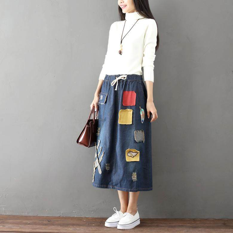 5b54e0fda Summer High Waist Denim Skirts Women Jeans Skirts Patchwork Holes Maxi  Skirts Casual Vintage Bottom Casual Streetwear Fashion Slim Denim  SkirtStyle: ...