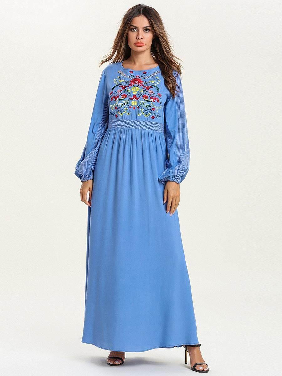 73332bfb806 ... Women's Long Sleeve Floral Maxi Dress Denim Jeans Summer Wedding Party  Evening Dinner Dresses Muslim Gown Abaya Dubai. '