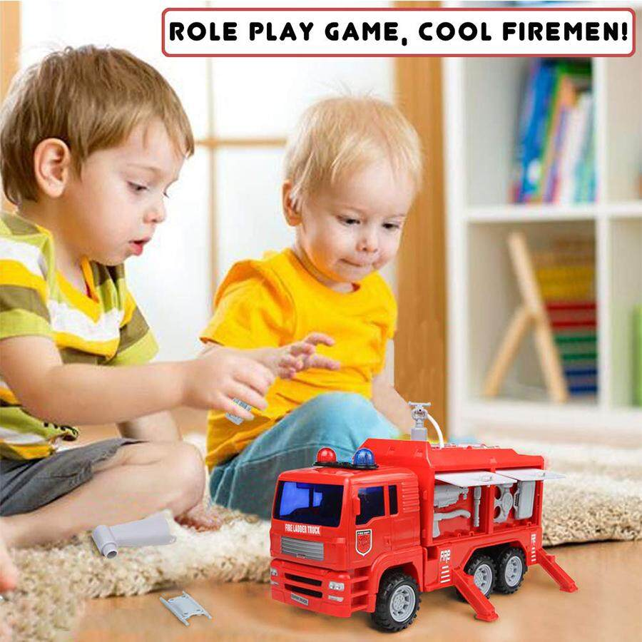 Red Fire Truck Engine Shoot Water Toy 911 Ambulance Firetruck with Siren  Light and Sound Rescue Tool Play Vehicle Car Gift for Boys Girls Toddler  Kids