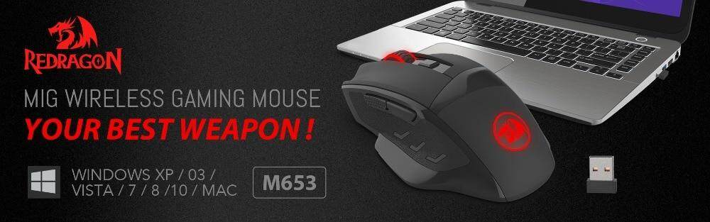 Redragon M653 2 4G Wireless Mouse Professional 6 Buttons Gaming Mouse Game  Optical Sensor Rgb Lights Mouse Gamer For Msi Dota