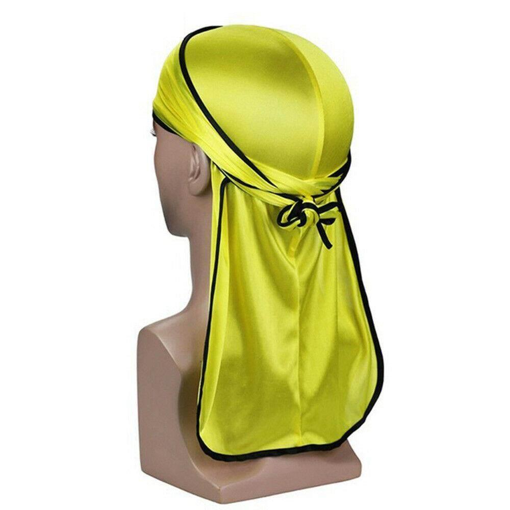 New Solid Fashion Women Men Silky Durag Head Wrap Cap Summer Bandannas Doo Rag