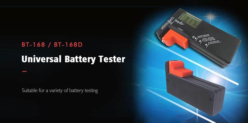 BT - 168D LCD Digital Battery Tester for AA / AAA / 9V Button Cell- Black BT-168D