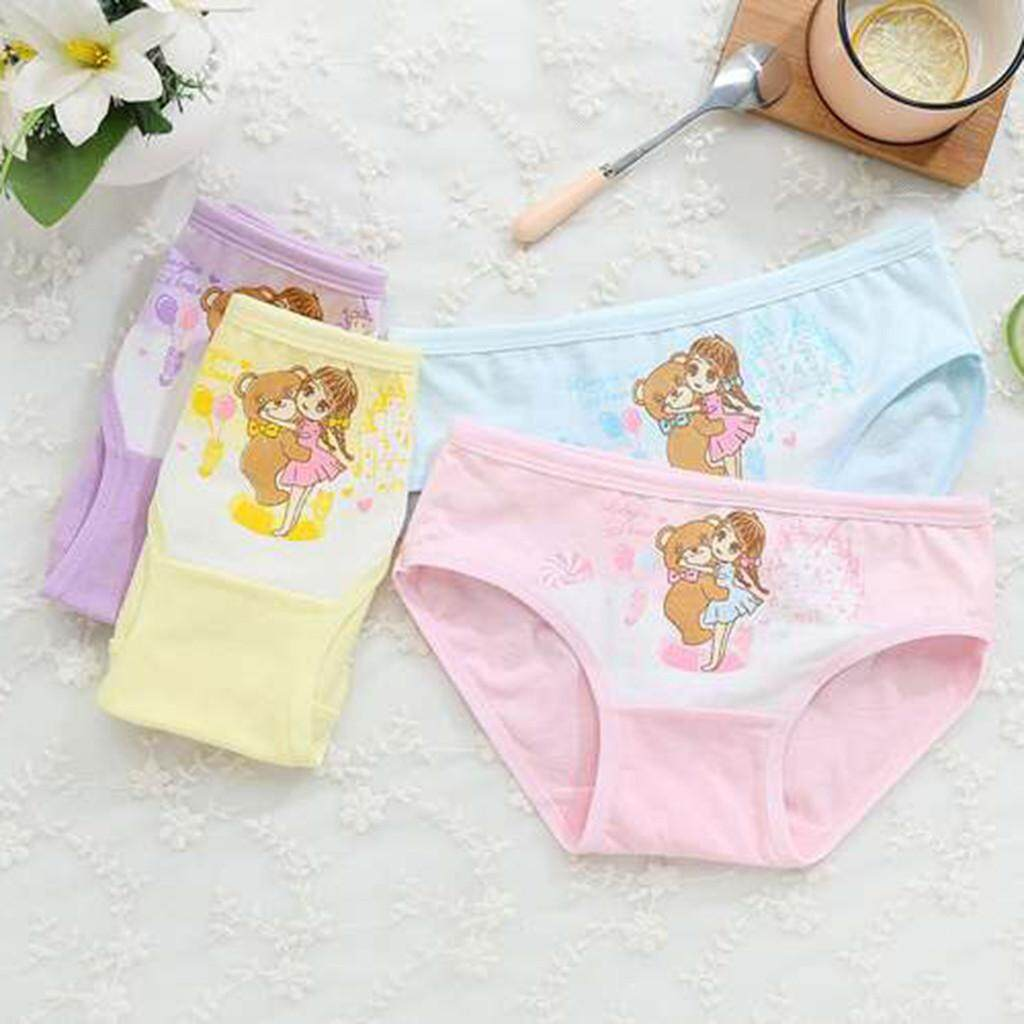 4Pcs Baby Girls Kids Underwear Children Underpants Bear Cartoon Short Pants