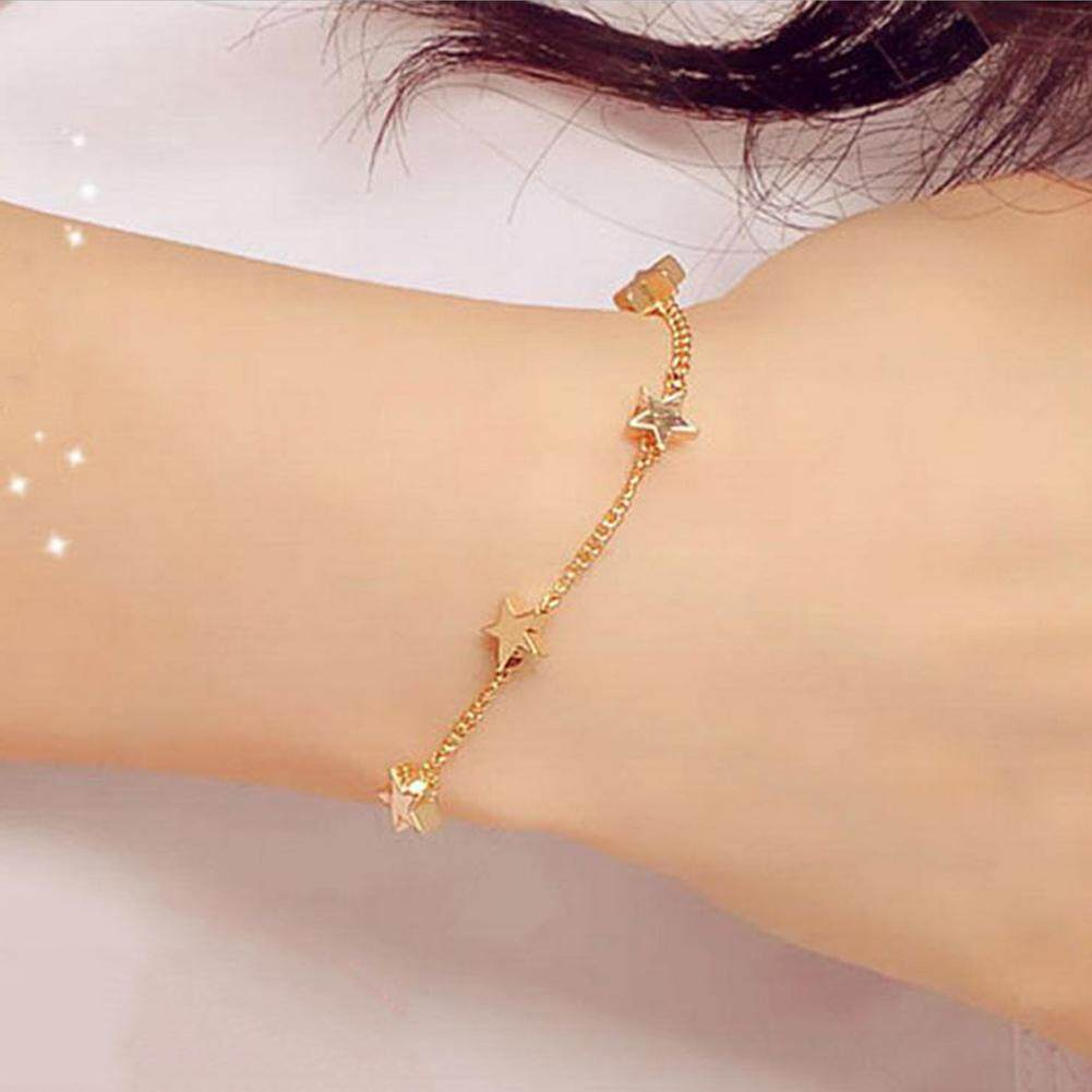 b9c6b29799f90 TopRating Stylish Contracted Lady Girls Bangle Simple Gold Filled Chic  Trendy Stars Fine Chain Bracelet Cuff Jewelry Party