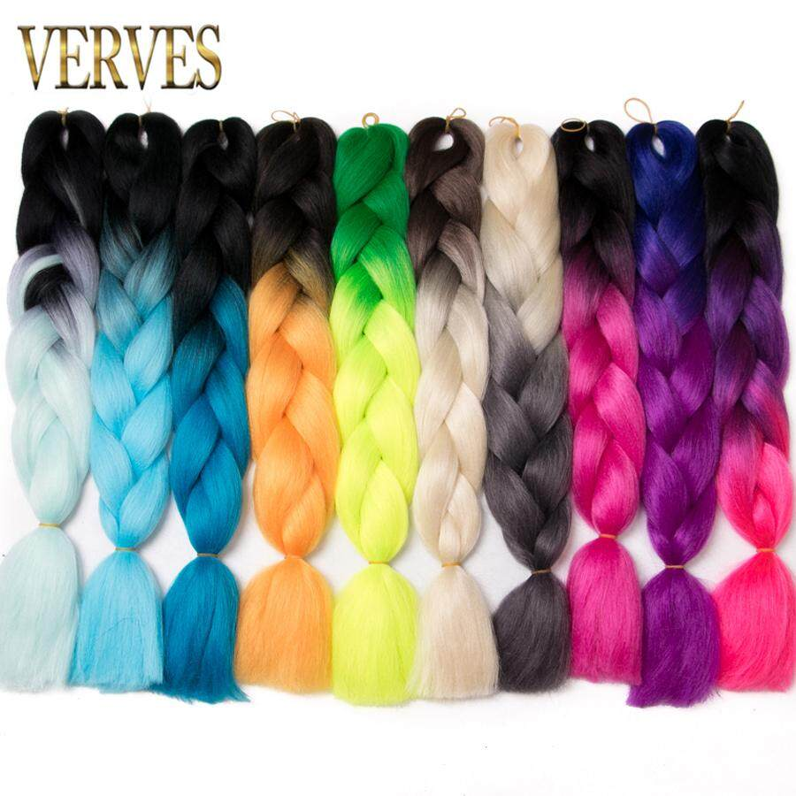 Verves Synthetic Ombre Braiding Hair 24 Inch Jumbo Braids Two And Three Tone Heat Resistant Hair Extensions Free Shipping Jumbo Braids