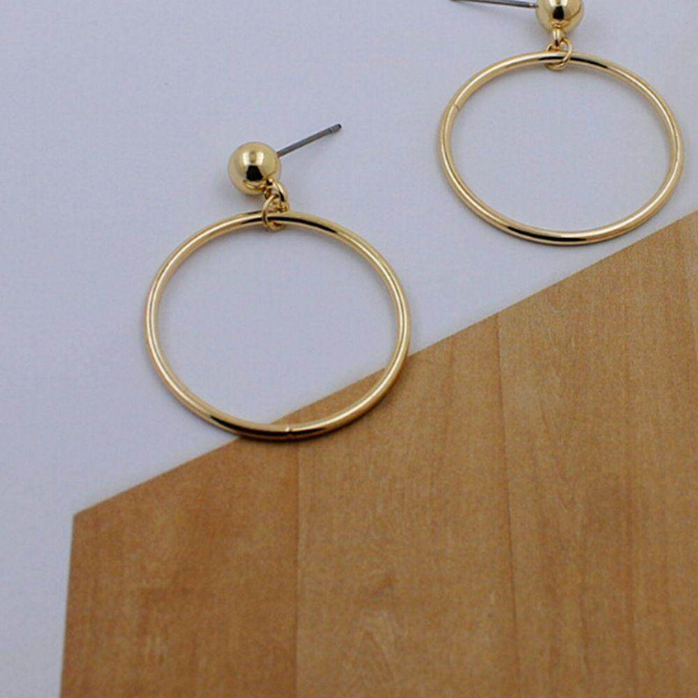 Chic Geometry Fashion Gold Women Smooth Hoop Earrings Silver Plated Big Circle