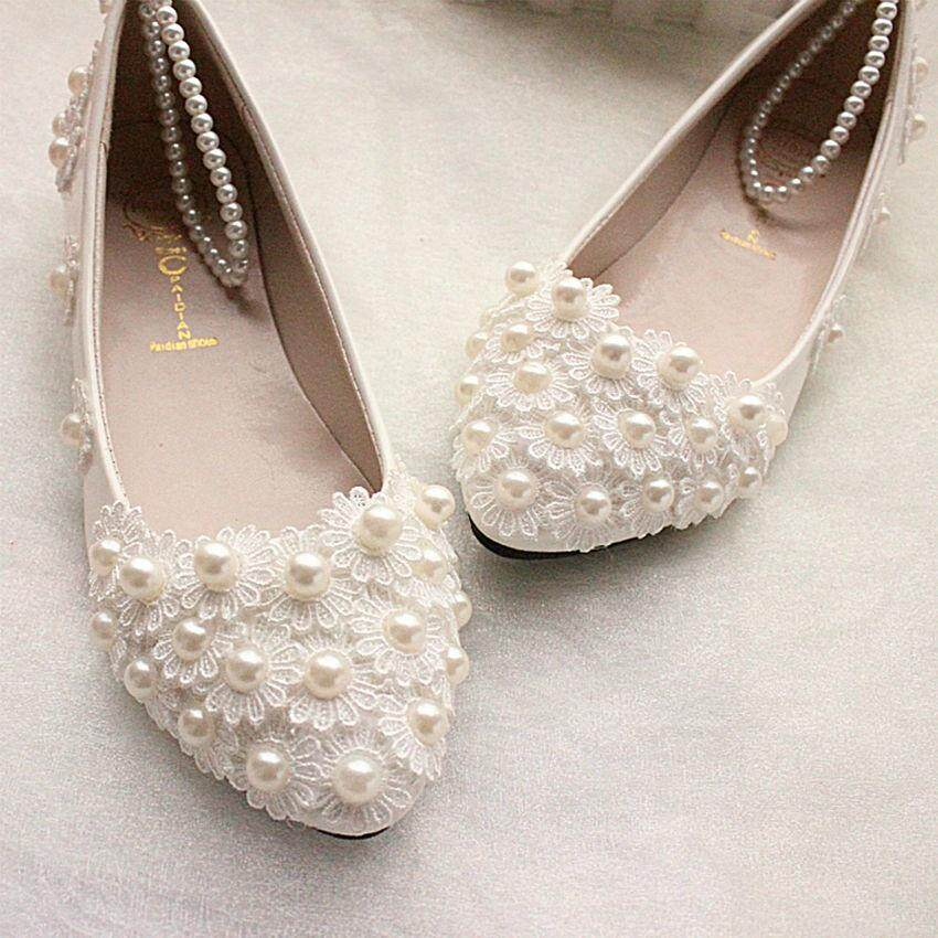 34573798cdd Product details of New FLAT Women White Lace Wedding Shoes Flower Pearls  Ankle Trap Bridal Flats white