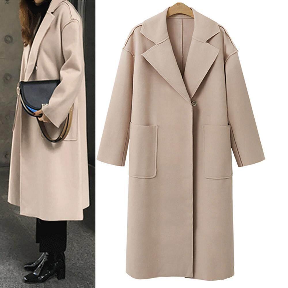 Womens Lapel Wool Cashmere Coat Trench Jacket Long Parka Overcoat Loose Outwear