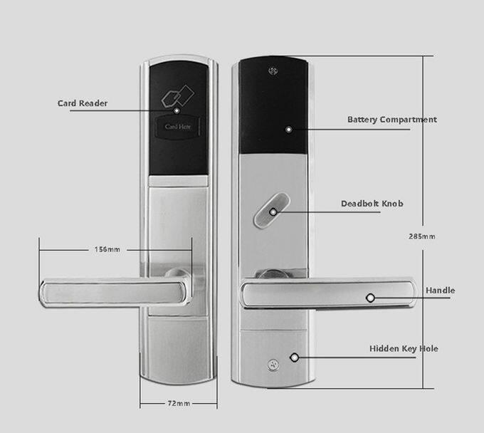 Golden Hotel Electronic Door Locks , RFID Card Key Card Door Lock For Hotels