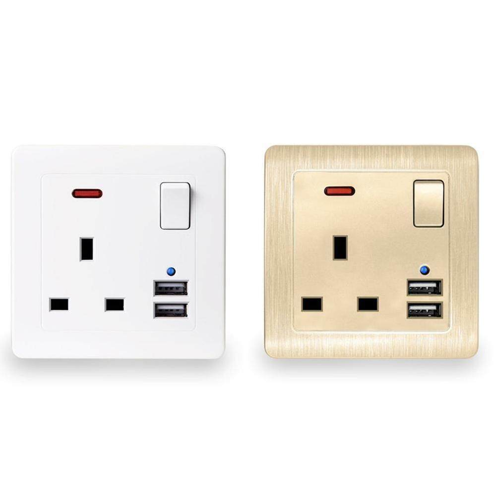 Jnan New Professional Wall Socket Usb Charger Power Wall Basin Type Power Outlet Panel White Plate Uk Plug