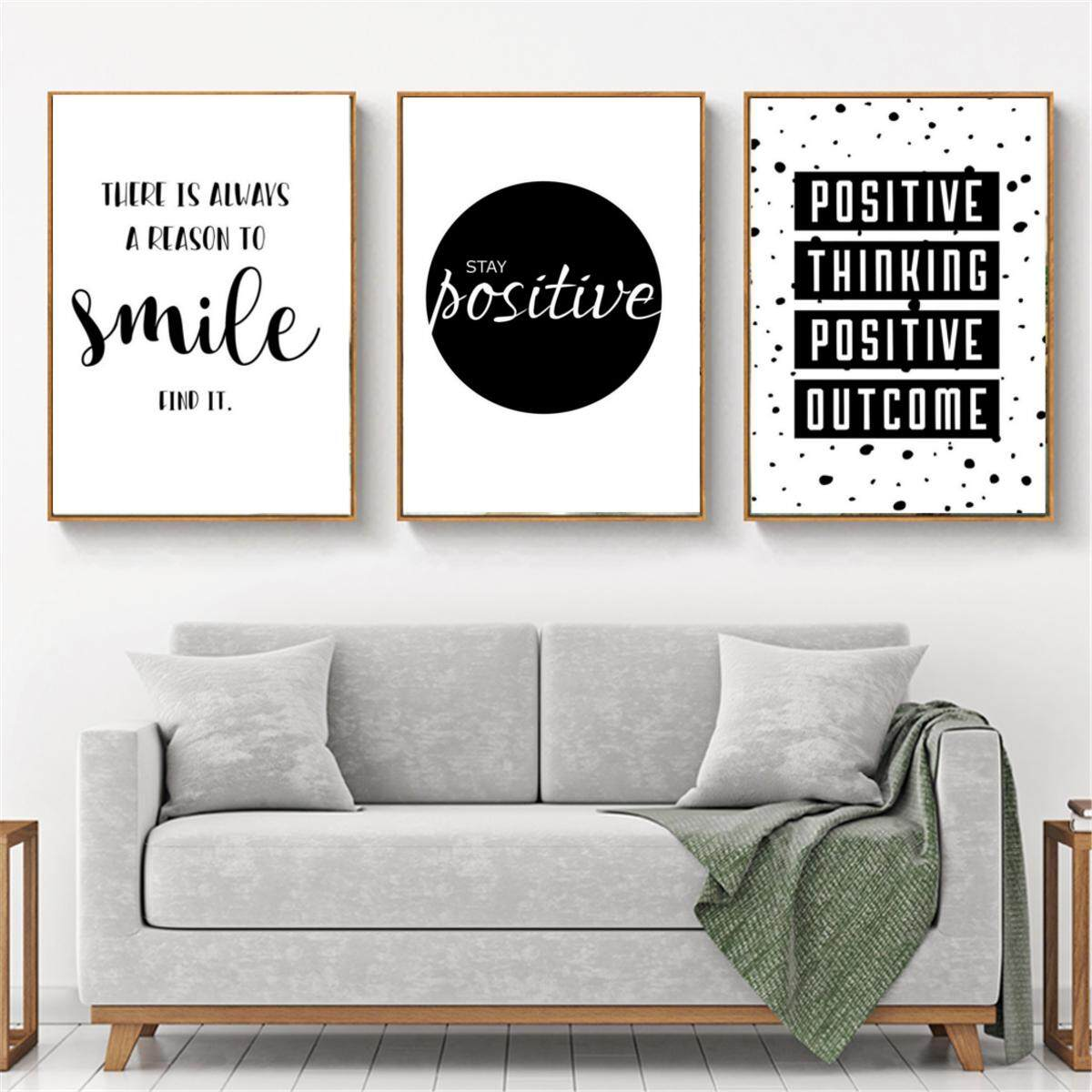 Inspirational Quote Wall Art Canvas Posters Black White Prints Modern Home  Decor Without Frame