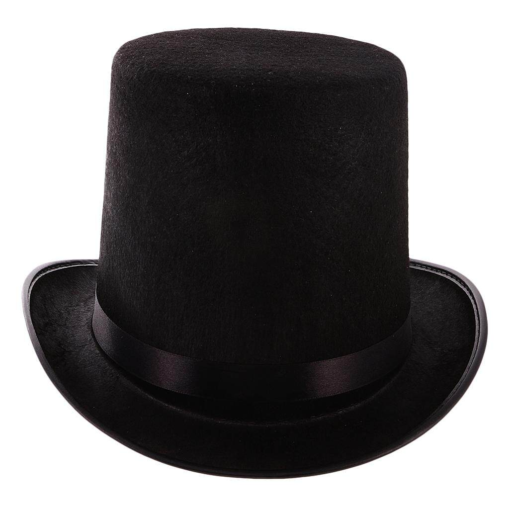 Tall Black Top Hat Victorian Steampunk Magician Ringmaster Costume Props FHW
