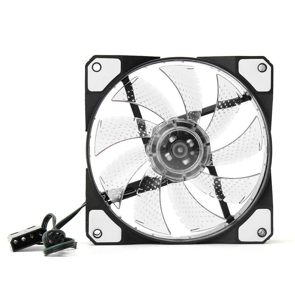 Quad 15-LED Light Neon Quite Clear 120mm PC CPU Computer Case Cooling Fan  Mod