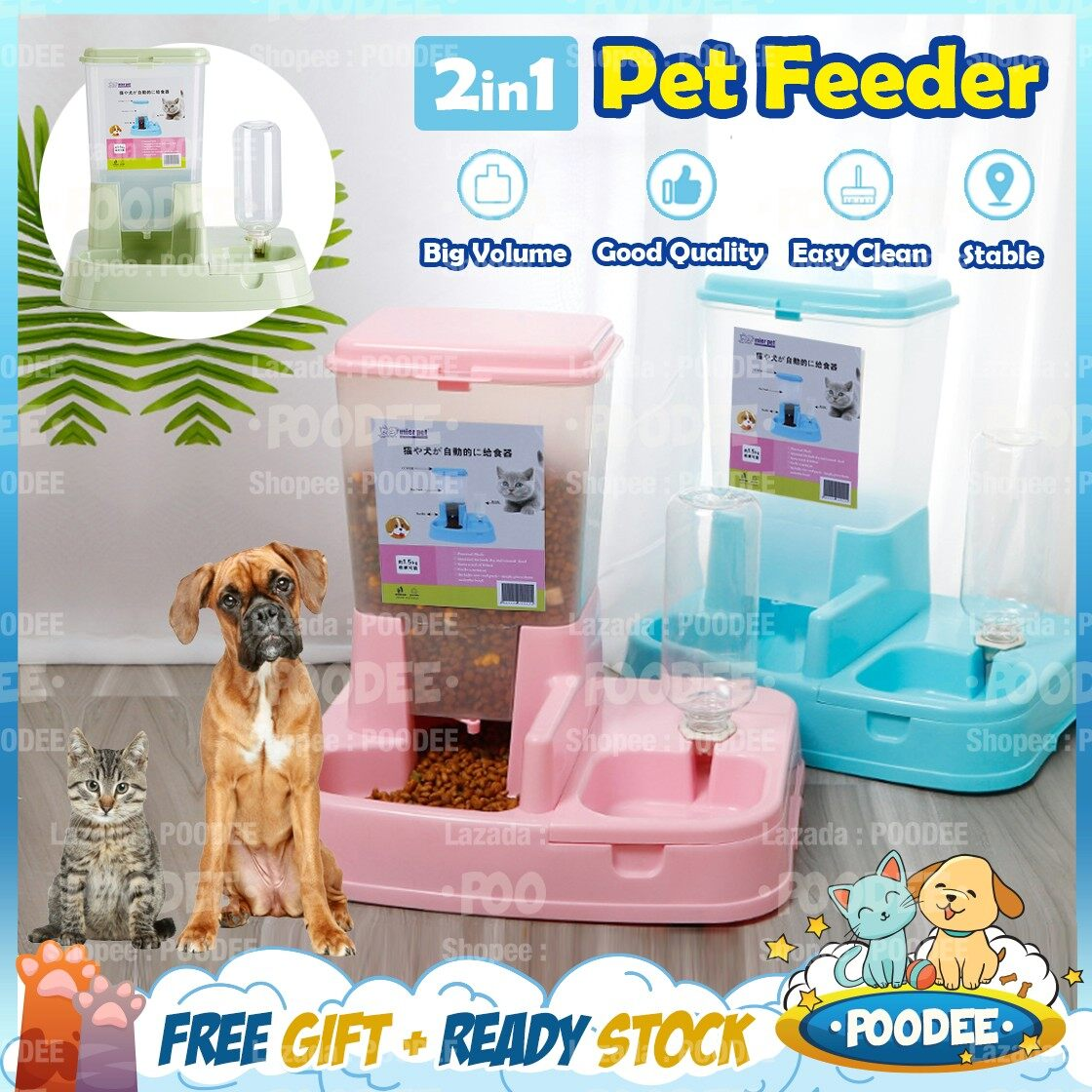 Poodee Pets Malaysia Automatic Japanese 2 In 1 Style Auto Pet Food Water Feeder Dog Cat Water Dispenser Bekas Makanan Pet Supplies Food Bowl Auto Drinker Lazada
