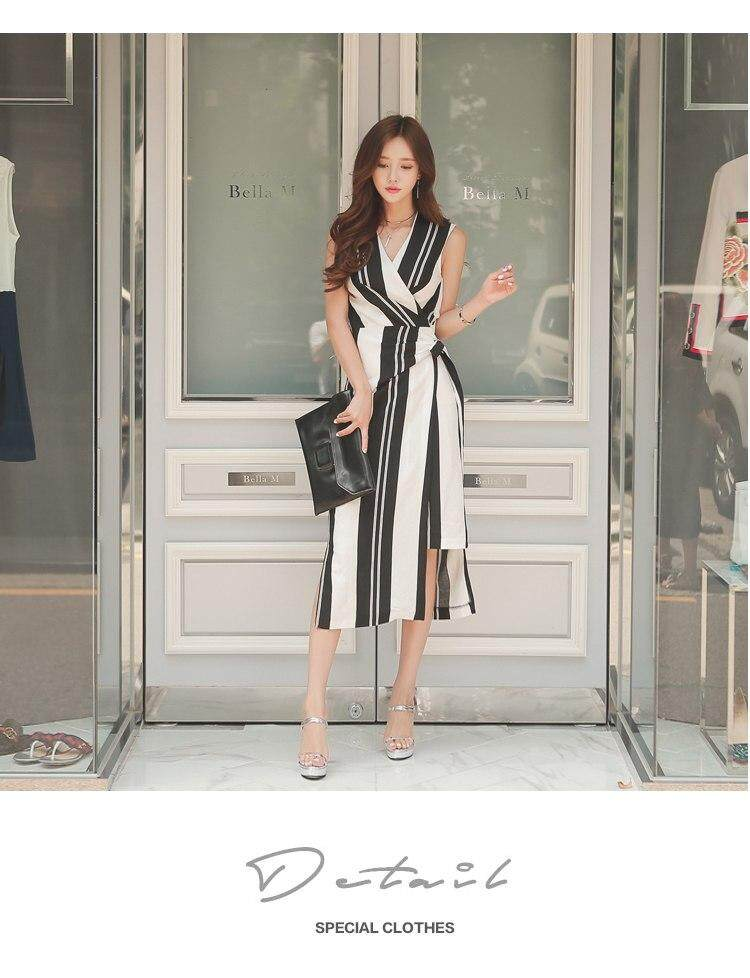 2961ab12a8063 Office Lady Sleeveless Striped Dress 2019 Elegant V-Neck Bodycon Dress  Sashes Waist Lace-up Women Dresses Side Split Summer Dress