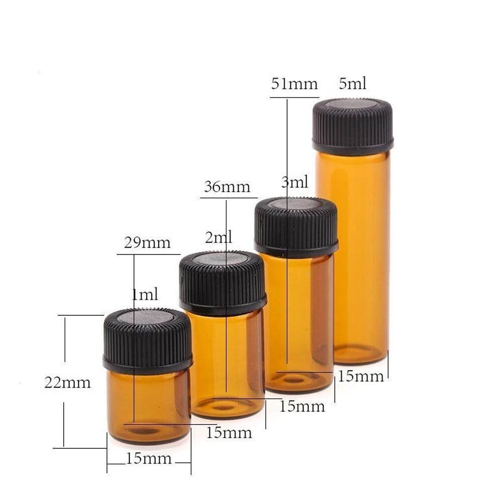 bd5792e7c1d4 10PCS 1/2/3/5ml Mini Essential Oil Bottle Jar Orifice Brown Reducer & Cap  Refillable Bottles Glass Vials Cosmetic Containers