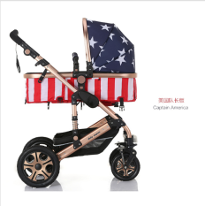 0-36 Months Baby Stroller Multi Function Aluminum Alloy High Landscape Sleep Basket Fashion Foldable Stroller angel-Captain America