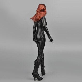1/6 Scale Female Clothes Black Faux Leather Jumpsuit - 3